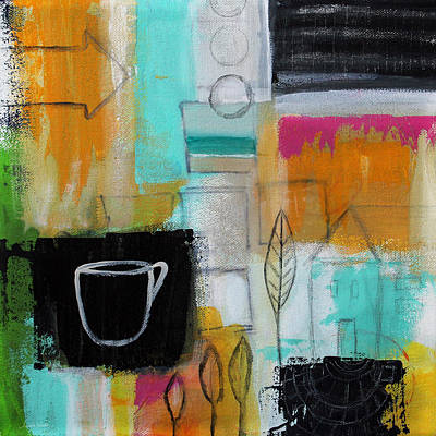 Green Mixed Media - Rituals- Contemporary Abstract Painting by Linda Woods