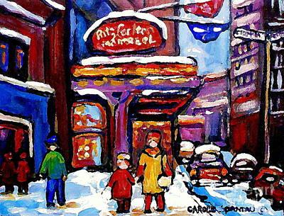 Snowy Day Painting - Ritz Carlton Montreal Art Winter Scene Paintings By City Scene Specialist Artist Carole Spandau by Carole Spandau