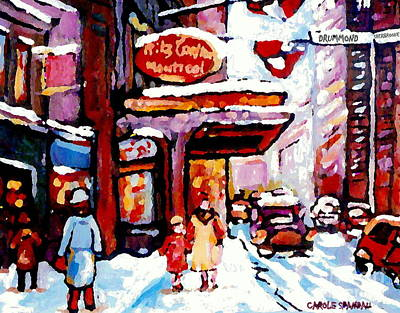 Montreal Winter Scenes Painting - Ritz Carlton Winter Scene Paintings Montreal Art By City Scene Specialist Carole Spandau by Carole Spandau