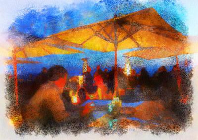 Patio Umbrellas Digital Art - Ritz Patio Night by Rick Lloyd