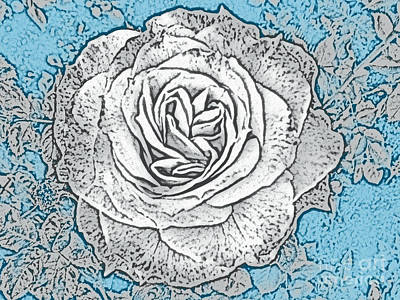 Nirvana - Ritzy Rose with Ink and Blue Background by Conni Schaftenaar