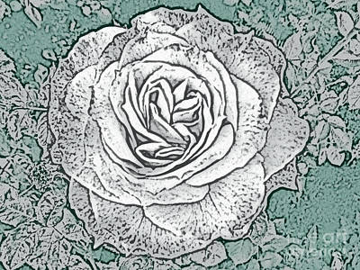 Photograph - Ritzy Rose With Ink And Green Background by Conni Schaftenaar