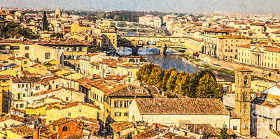 Photograph - River Arno In Central Florence by Liz Leyden