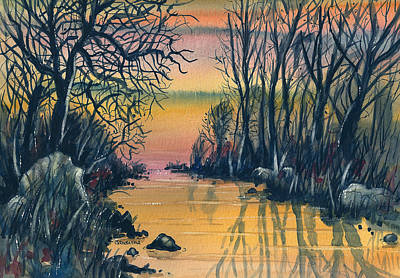 River At Sunset Art Print by Terry Banderas