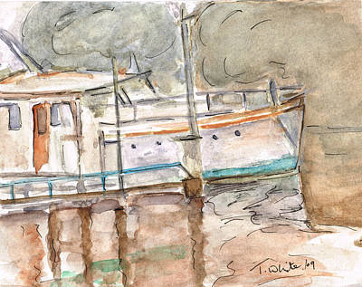 Art Print featuring the painting River Boat  by Teresa White