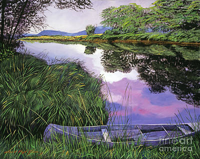 Canoes Painting - River Canoe by David Lloyd Glover