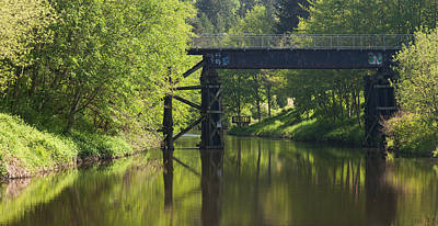 Railroad Bridge Photograph - River Crossing by Mike Reid