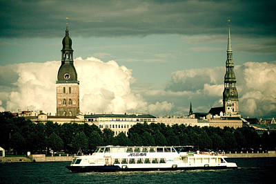 Audrey Hepburn - River Daugava Jelgava ship old town Riga by Raimond Klavins
