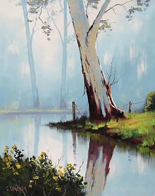 Plein Air Painting - River Eucalyptus Trees by Graham Gercken