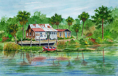 Painting - River Fishing Camp by Norman Freyer