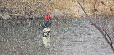 River Fishing In The Snow Art Print by Brent Dolliver