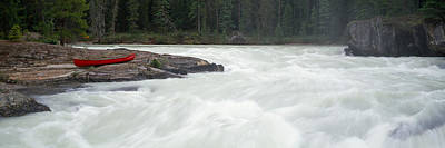 Canoe Photograph - River Flowing In A Forest, Kicking by Panoramic Images