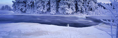 River Flowing Through A Snow Covered Art Print by Panoramic Images
