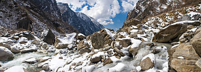 Nepal Photograph - River Flowing Through Rocks, Modi Khola by Panoramic Images