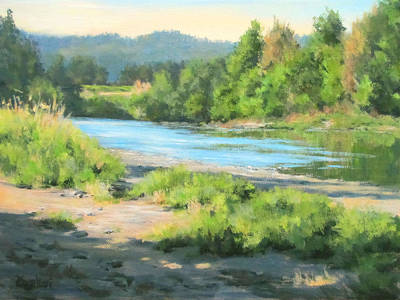 River Forks Morning Print by Karen Ilari
