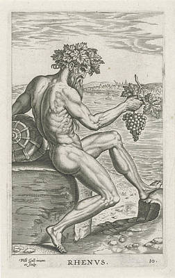 Grapes Drawing - River God Rhenus, Philips Galle by Philips Galle