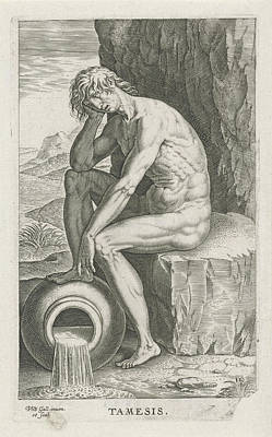 Cornucopia Drawing - River God Tamesis, Philips Galle by Philips Galle