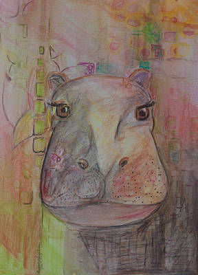 Hippopotamus Drawing - River Horse by Alexandra Benson