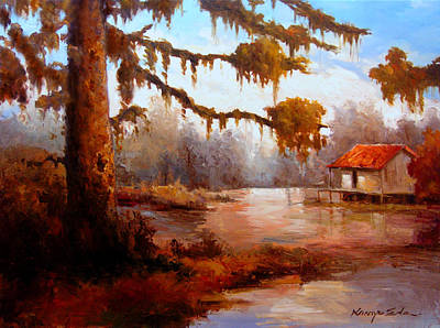 Painting - River House - River Delta Swamp House On Stilts  by Kanayo Ede