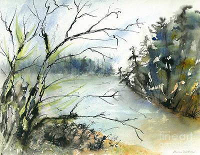 River In Autumn Art Print by Gwen Nichols