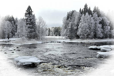 River In Winter. Textured Art Print by Conny Sjostrom
