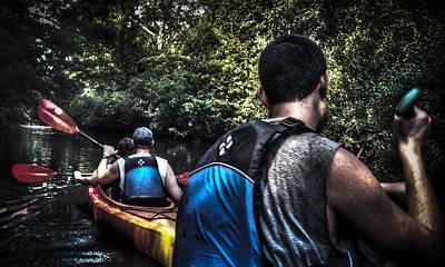 River Kayaking Art Print by Deborah Klubertanz