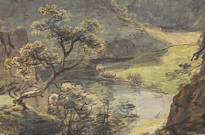 Drawing - River Landscape by Johann Georg von Dillis
