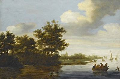 Rowing Painting - River Landscape by Celestial Images