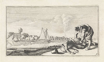 Bank Robber Drawing - River Landscape With A Dead Man Who Robbed by Jan Van De Velde (ii) And Anonymous And Claes Jansz. Visscher (ii)