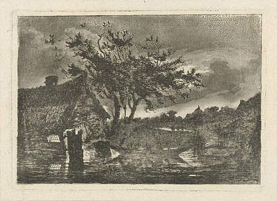 Dilapidated Drawing - River Landscape With A Dilapidated Farmhouse by Fran?ois Joseph Pfeiffer (ii)
