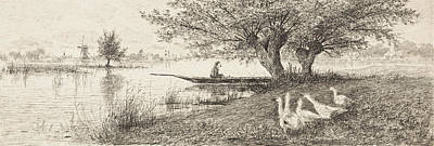 Canoe Drawing - River Landscape With A Man In A Boat And Geese On The Bank by Elias Stark