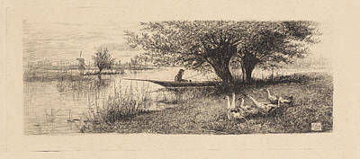 Stark Drawing - River Landscape With A Man In A Boat, Elias Stark by Elias Stark