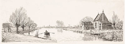 Stark Drawing - River Landscape With A Wooden House, Elias Stark by Elias Stark