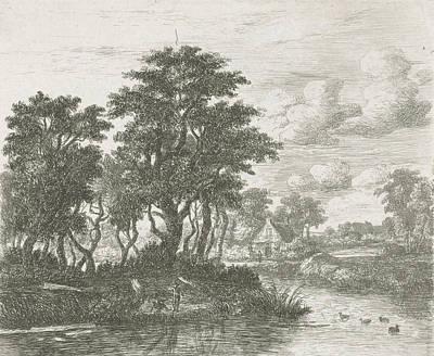 Meindert Hobbema Drawing - River Landscape With An Angler, Hermanus Jan Hendrik Van by Hermanus Jan Hendrik Van Rijkelijkhuysen And Meindert Hobbema