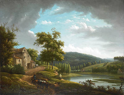 Painting - River Landscape With Farmhouse by Alexandre-Hyacinthe Dunouy