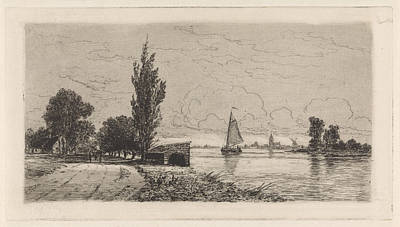 Stark Drawing - River Landscape With Sailing Ship, Elias Stark by Elias Stark