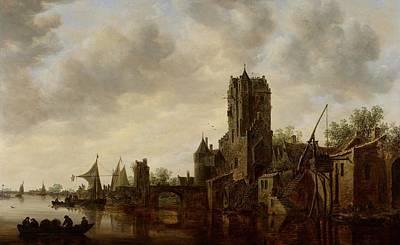River Landscape With The Pellecussen Gate Near Utrecht Print by Jan Josephsz van Goyen