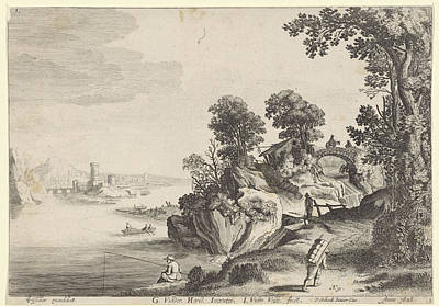 Angling Drawing - River Landscape With Travelers On Country Road by Jan Van De Velde (ii) And Pieter Schenk (ii)