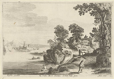 Angling Drawing - River Landscape With Travelers On Country Road by Jan Van De Velde (ii)