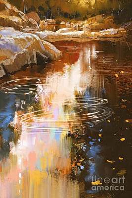Autumn Digital Art - River Lines With Stones In Autumn by Tithi Luadthong