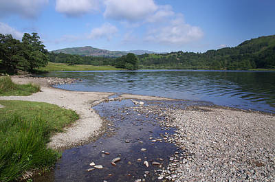 Photograph - River Meets The Lake Rydal Water by Graham Hawcroft pixsellpix