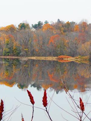 Photograph - River Mirror Autumn by Expressionistart studio Priscilla Batzell