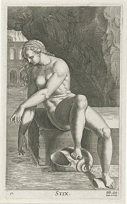 River Nymph Styx, Philips Galle Art Print by Philips Galle