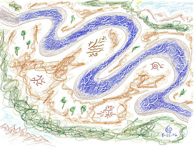 Drawing - River Of Abundance - River Of Life by Mark David Gerson