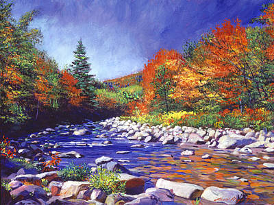 Vermont Wilderness Painting - River Of Autumn Colors by David Lloyd Glover