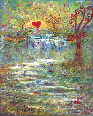 Sun Rays Painting - River Of Love by Beckie J Neff