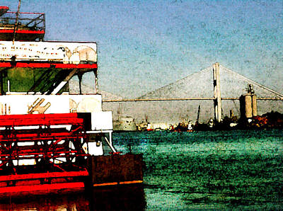 Painting - River Queen And Tallmadge Bridge Of Savannah by Daniel Bonnell