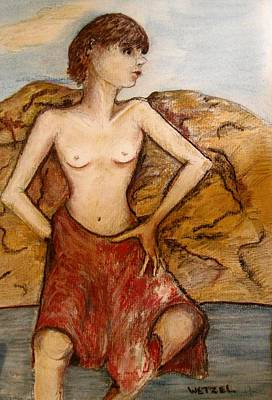 Topless Mixed Media - River Queen by Joseph Wetzel