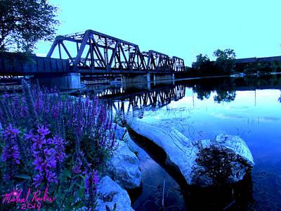River Raisin Train Bridge Original by Michael Rucker