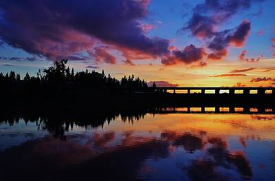River Reflection Sunset Art Print